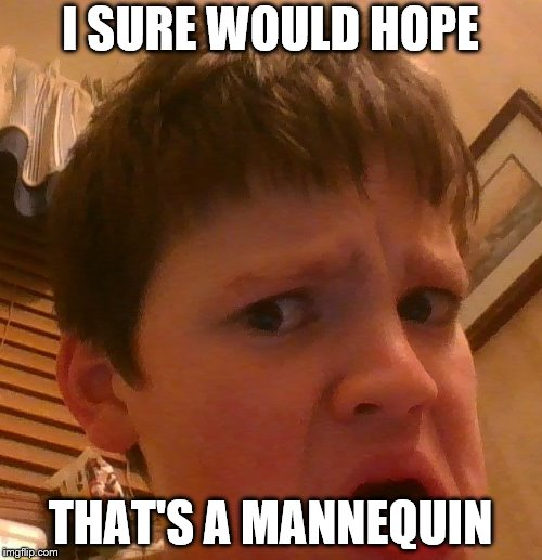 I SURE WOULD HOPE THAT'S A MANNEQUIN | image tagged in um | made w/ Imgflip meme maker