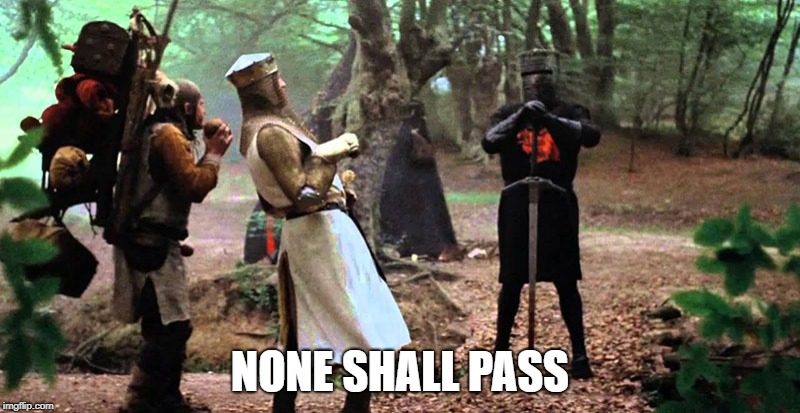 Image result for monty python black knight none shall pass meme