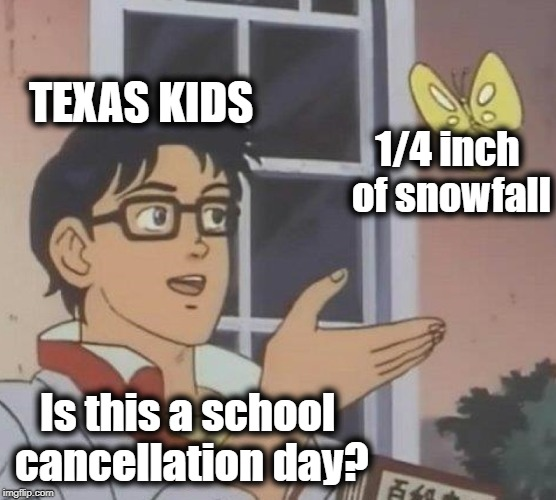 I remember when I lived in southern Tennessee, school would be cancelled for a thin coating | TEXAS KIDS 1/4 inch of snowfall Is this a school cancellation day? | image tagged in memes,is this a pigeon | made w/ Imgflip meme maker