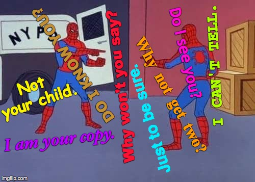 Spidey Meets the Buddha | Why  not  get  two? I CAN'T TELL. DO I KNOW YOU? Just to be sure. I am your copy. Not your child. Do I see you? Why won't you say? | image tagged in spiderman mirror,spidey,memes,stan lee,buddha,spiderman | made w/ Imgflip meme maker