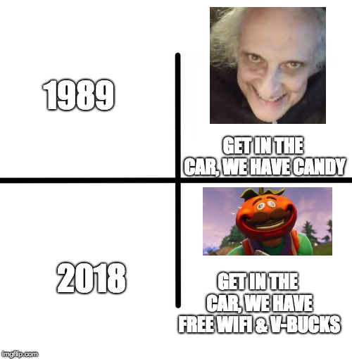 Past V.S. Present | 1989 2018 GET IN THE CAR, WE HAVE CANDY GET IN THE CAR, WE HAVE FREE WIFI & V-BUCKS | image tagged in memes,fortnite meme,fortnite,creepy guy,candy | made w/ Imgflip meme maker