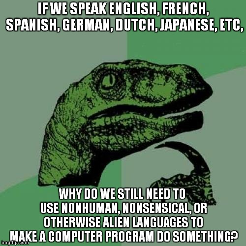 Computers are Illiterate: Deal With It | IF WE SPEAK ENGLISH, FRENCH, SPANISH, GERMAN, DUTCH, JAPANESE, ETC, WHY DO WE STILL NEED TO USE NONHUMAN, NONSENSICAL, OR OTHERWISE ALIEN LA | image tagged in memes,philosoraptor,programming,aliens,language | made w/ Imgflip meme maker