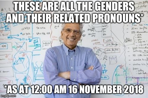 Finally figured out the gender pronouns! | THESE ARE ALL THE GENDERS AND THEIR RELATED PRONOUNS* *AS AT 12:00 AM 16 NOVEMBER 2018 | image tagged in memes,engineering professor,gender pronouns,liberalism | made w/ Imgflip meme maker