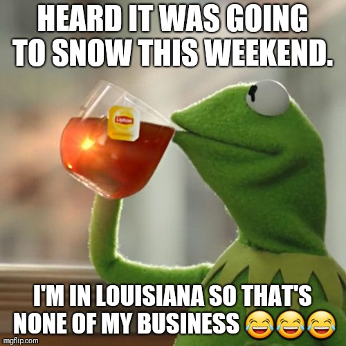 But Thats None Of My Business | HEARD IT WAS GOING TO SNOW THIS WEEKEND. I'M IN LOUISIANA SO THAT'S NONE OF MY BUSINESS  | image tagged in memes,but thats none of my business,kermit the frog | made w/ Imgflip meme maker