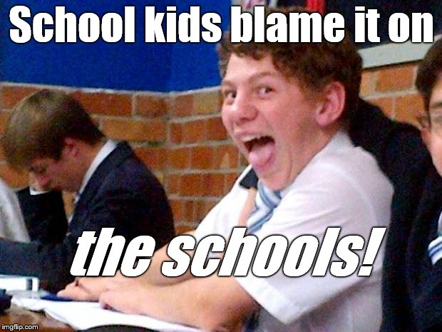 Overly Excited School Kid | School kids blame it on the schools! | image tagged in overly excited school kid | made w/ Imgflip meme maker