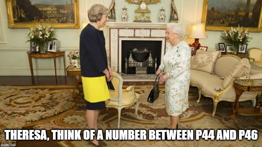 Theresa May Sacked | THERESA, THINK OF A NUMBER BETWEEN P44 AND P46 | image tagged in theresa may  queen elizabeth,brex,prime minister,uk,funny memes,funny | made w/ Imgflip meme maker