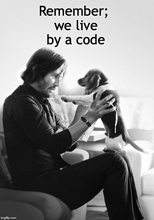 Remember; we live by a code | image tagged in john wick,puppy,beagle,cute,code | made w/ Imgflip meme maker