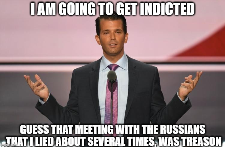 Jail for JR is SR next?  | I AM GOING TO GET INDICTED GUESS THAT MEETING WITH THE RUSSIANS THAT I LIED ABOUT SEVERAL TIMES, WAS TREASON | image tagged in donald trump jr,memes,maga,treason,trump,politics | made w/ Imgflip meme maker