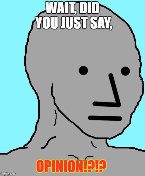 NPC | WAIT, DID YOU JUST SAY, OPINION!?!? | image tagged in memes,npc | made w/ Imgflip meme maker