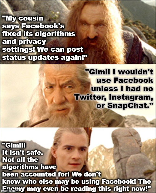 "Face of the Fellowship | ""My cousin says Facebook's fixed its algorithms and privacy settings! We can post status updates again!"" ""Gimli!                             