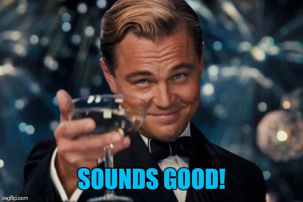 Leonardo Dicaprio Cheers Meme | SOUNDS GOOD! | image tagged in memes,leonardo dicaprio cheers | made w/ Imgflip meme maker