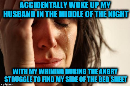First World Problems | ACCIDENTALLY WOKE UP MY HUSBAND IN THE MIDDLE OF THE NIGHT WITH MY WHINING DURING THE ANGRY STRUGGLE TO FIND MY SIDE OF THE BED SHEET | image tagged in memes,first world problems,whining,funny,sleepy struggle,where's the dang sheet | made w/ Imgflip meme maker