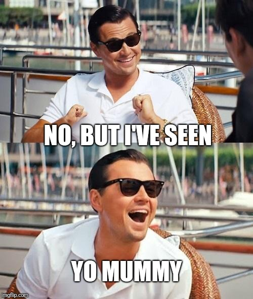 Leonardo Dicaprio Wolf Of Wall Street Meme | NO, BUT I'VE SEEN YO MUMMY | image tagged in memes,leonardo dicaprio wolf of wall street | made w/ Imgflip meme maker