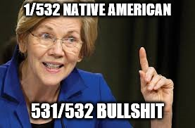 1/532 NATIVE AMERICAN 531/532 BULLSHIT | image tagged in elizabeth warren | made w/ Imgflip meme maker