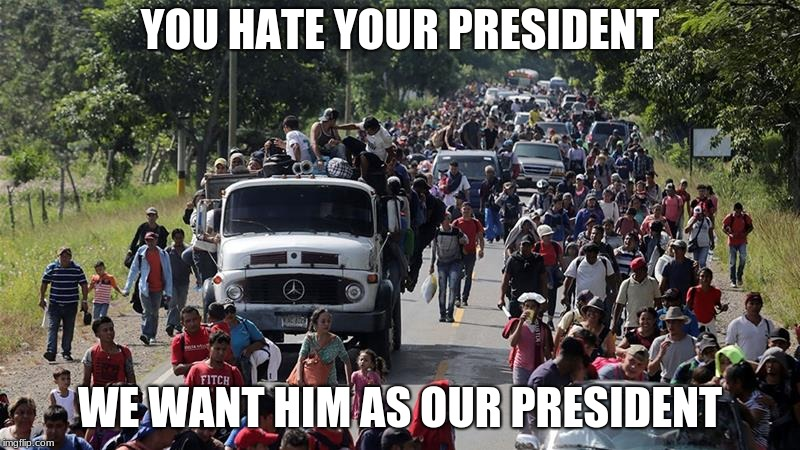 Illegals for Trump, MAGA! | YOU HATE YOUR PRESIDENT WE WANT HIM AS OUR PRESIDENT | image tagged in illegal caravan,election 2020,trump 2020,america | made w/ Imgflip meme maker