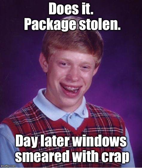 Bad Luck Brian Meme | Does it. Package stolen. Day later windows smeared with crap | image tagged in memes,bad luck brian | made w/ Imgflip meme maker