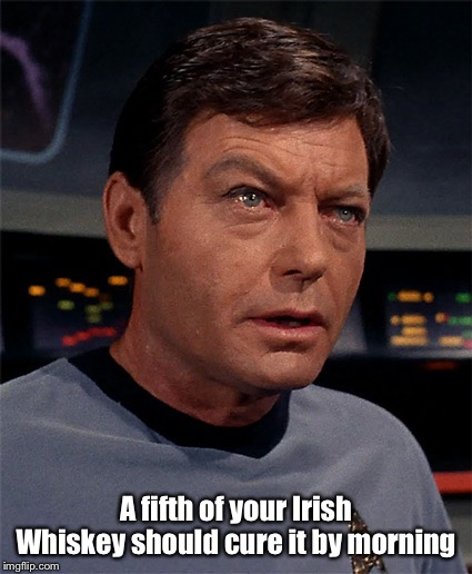Bones McCoy | A fifth of your Irish Whiskey should cure it by morning | image tagged in bones mccoy | made w/ Imgflip meme maker