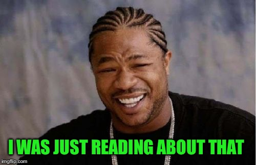 Yo Dawg Heard You Meme | I WAS JUST READING ABOUT THAT | image tagged in memes,yo dawg heard you | made w/ Imgflip meme maker
