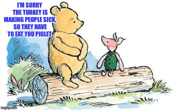 winnie the pooh and piglet | I'M SORRY THE TURKEY IS MAKING PEOPLE SICK, SO THEY HAVE TO EAT YOU PIGLET | image tagged in winnie the pooh and piglet | made w/ Imgflip meme maker
