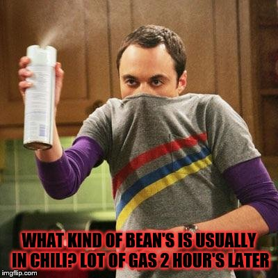 what kind | WHAT KIND OF BEAN'S IS USUALLY IN CHILI? LOT OF GAS 2 HOUR'S LATER | image tagged in march madness is in the air,sheldon big bang theory,bean's,chili,funny,funny meme | made w/ Imgflip meme maker