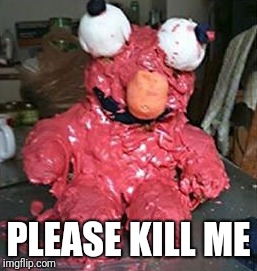 Elmo Cake Gone Wrong | PLEASE KILL ME | image tagged in elmo,birthday cake | made w/ Imgflip meme maker