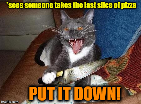 *sees someone takes the last slice of pizza PUT IT DOWN! | made w/ Imgflip meme maker