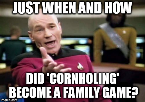 Picard Wtf | JUST WHEN AND HOW DID 'CORNHOLING' BECOME A FAMILY GAME? | image tagged in memes,picard wtf | made w/ Imgflip meme maker