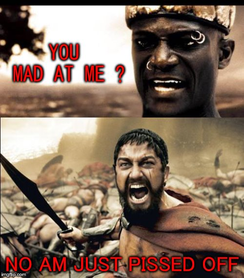 you mad at me | YOU MAD AT ME ? NO AM JUST PISSED OFF | image tagged in this is madness / this is spartaaaaaa,funny,sparta,this is sparta meme,pissed off | made w/ Imgflip meme maker