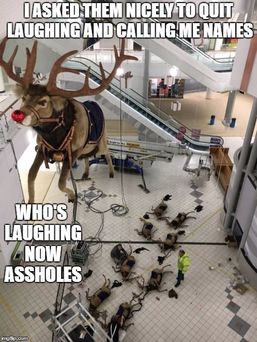 ho, ho, ho. Too soon? | I ASKED THEM NICELY TO QUIT LAUGHING AND CALLING ME NAMES WHO'S LAUGHING NOW ASSHOLES | image tagged in santa claus,rudolph,random,christmas | made w/ Imgflip meme maker