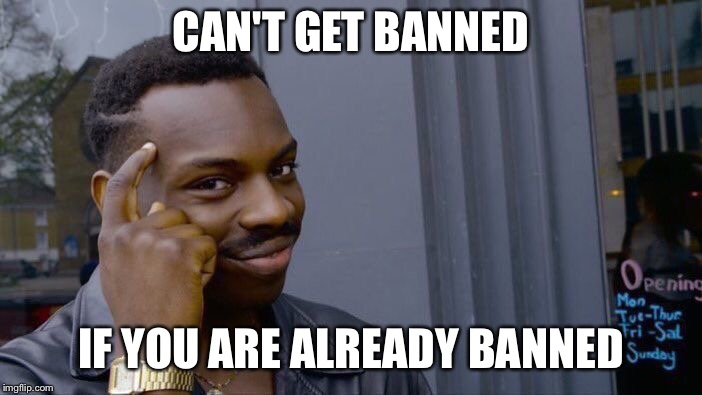 Roll Safe Think About It Meme | CAN'T GET BANNED IF YOU ARE ALREADY BANNED | image tagged in memes,roll safe think about it | made w/ Imgflip meme maker