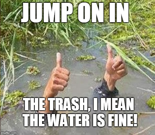 Political stream...my favorite swimmin' hole!  | JUMP ON IN THE TRASH, I MEAN THE WATER IS FINE! | image tagged in flooding thumbs up,political memes,politics,russian bots,npc,memes | made w/ Imgflip meme maker