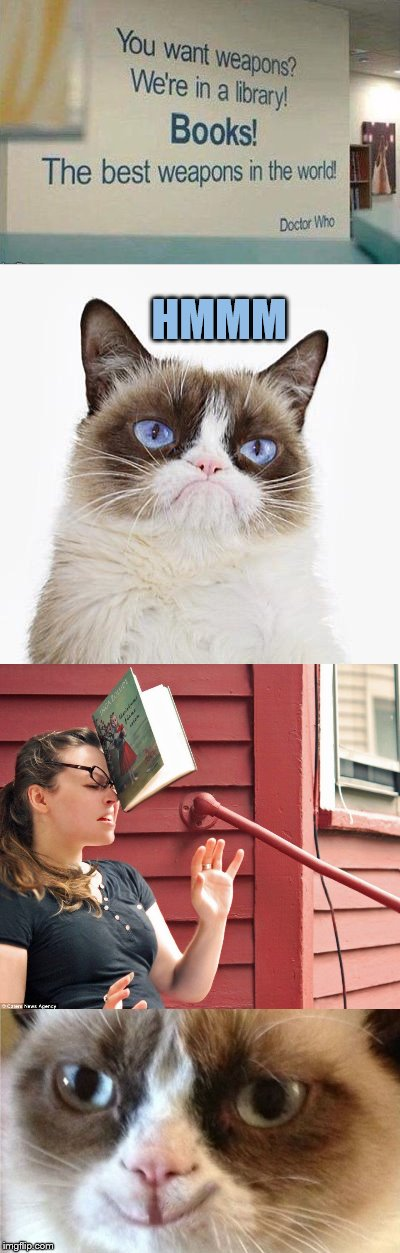Test successful | HMMM | image tagged in memes,grumpy cat happy,books,dashhopes,funny,best weapons in the world | made w/ Imgflip meme maker