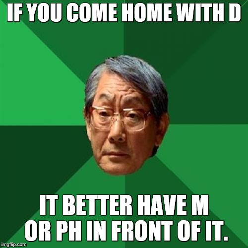 This remains my favorite HEAF meme | IF YOU COME HOME WITH D IT BETTER HAVE M OR PH IN FRONT OF IT. | image tagged in memes,high expectations asian father,school,education | made w/ Imgflip meme maker