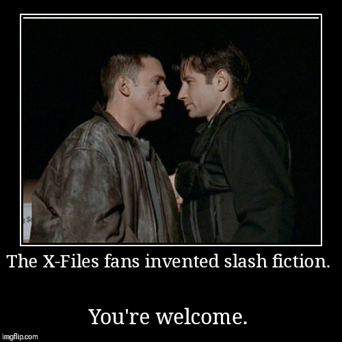 The X-Files fans invented slash fiction. | You're welcome. | image tagged in funny,demotivationals,slash,xfiles | made w/ Imgflip demotivational maker