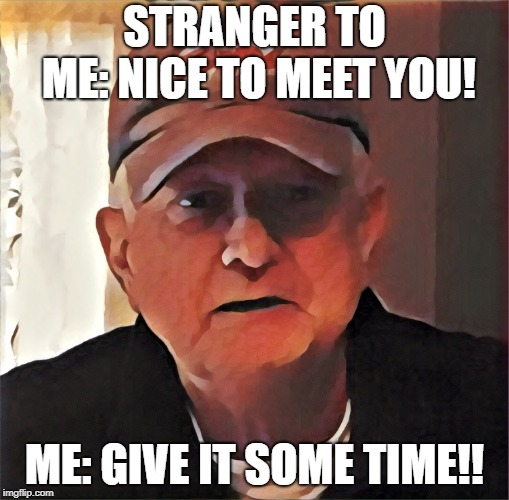 Touched Up Dan |  STRANGER TO ME: NICE TO MEET YOU! ME: GIVE IT SOME TIME!! | image tagged in touched up dan | made w/ Imgflip meme maker