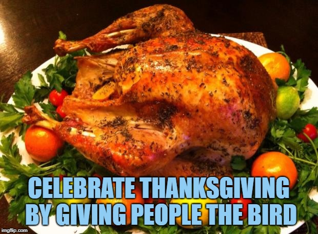 Roasted turkey | CELEBRATE THANKSGIVING BY GIVING PEOPLE THE BIRD | image tagged in roasted turkey,thanksgiving,funny,memes,funny memes | made w/ Imgflip meme maker