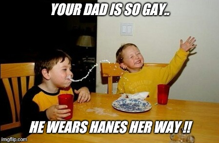 Who's wearing hanes today  ??? | YOUR DAD IS SO GAY.. HE WEARS HANES HER WAY !! | image tagged in memes,yo mamas so fat,panties,gay guy | made w/ Imgflip meme maker