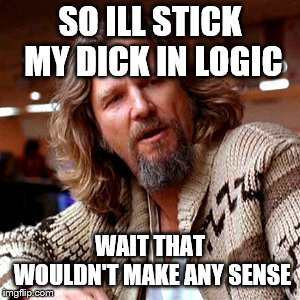 Confused Lebowski Meme | SO ILL STICK MY DICK IN LOGIC WAIT THAT WOULDN'T MAKE ANY SENSE | image tagged in memes,confused lebowski | made w/ Imgflip meme maker