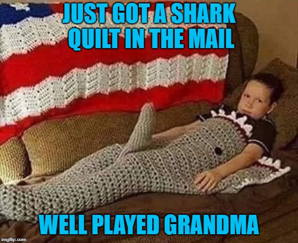 My Grandmas never gave me anything like that! LOL |  JUST GOT A SHARK QUILT IN THE MAIL; WELL PLAYED GRANDMA | image tagged in shark quilt,memes,grandma,gifts,funny,funny quilts | made w/ Imgflip meme maker