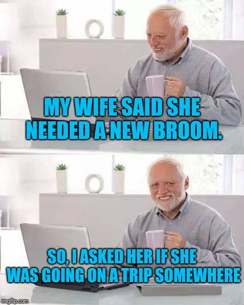 Sometimes it's better to not say what you're thinking | MY WIFE SAID SHE NEEDED A NEW BROOM. SO, I ASKED HER IF SHE WAS GOING ON A TRIP SOMEWHERE | image tagged in memes,hide the pain harold | made w/ Imgflip meme maker