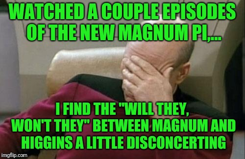 "I grew up on the original, and where's Ice Pic? | WATCHED A COUPLE EPISODES OF THE NEW MAGNUM PI,... I FIND THE ""WILL THEY, WON'T THEY"" BETWEEN MAGNUM AND HIGGINS A LITTLE DISCONCERTING 