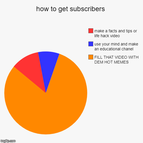 how to get subscribers | FILL THAT VIDEO WITH DEM HOT MEMES, use your mind and make an educational chanel, make a facts and tips or life hac | image tagged in funny,pie charts | made w/ Imgflip chart maker