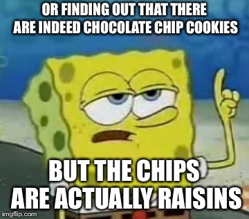 Ill Have You Know Spongebob Meme | OR FINDING OUT THAT THERE ARE INDEED CHOCOLATE CHIP COOKIES BUT THE CHIPS ARE ACTUALLY RAISINS | image tagged in memes,ill have you know spongebob | made w/ Imgflip meme maker