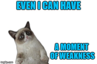 EVEN I CAN HAVE A MOMENT OF WEAKNESS | made w/ Imgflip meme maker