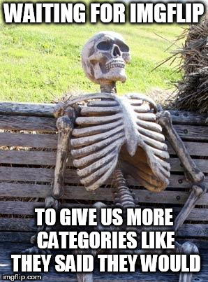When oh when will we get them? | WAITING FOR IMGFLIP TO GIVE US MORE CATEGORIES LIKE THEY SAID THEY WOULD | image tagged in waiting skelton,imgflip | made w/ Imgflip meme maker