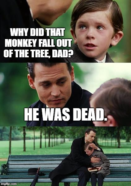 Dark Simplicity, II.  | WHY DID THAT MONKEY FALL OUT OF THE TREE, DAD? HE WAS DEAD. | image tagged in memes,finding neverland,twisted,dark humor,funny | made w/ Imgflip meme maker