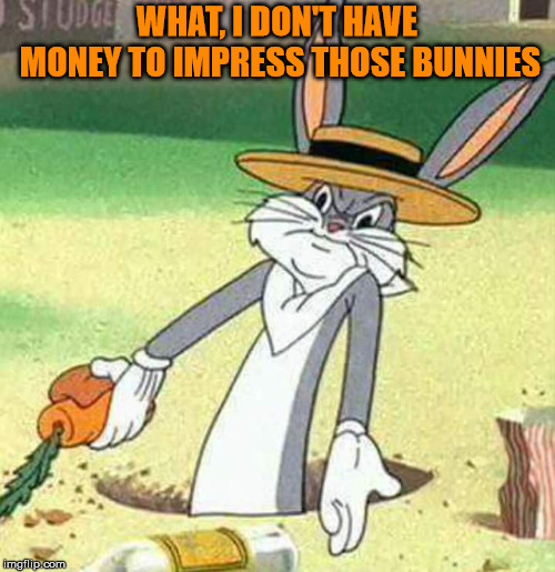 Bugs Bunny  | WHAT, I DON'T HAVE MONEY TO IMPRESS THOSE BUNNIES | image tagged in bugs bunny | made w/ Imgflip meme maker