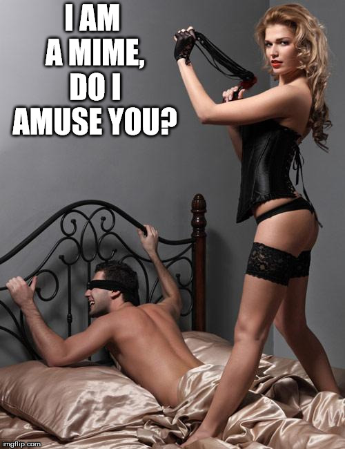 Whipping Dominatrix | I AM A MIME, DO I AMUSE YOU? | image tagged in whipping dominatrix | made w/ Imgflip meme maker