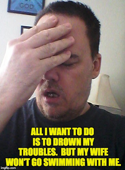 face palm | ALL I WANT TO DO IS TO DROWN MY TROUBLES.  BUT MY WIFE WON'T GO SWIMMING WITH ME. | image tagged in face palm | made w/ Imgflip meme maker