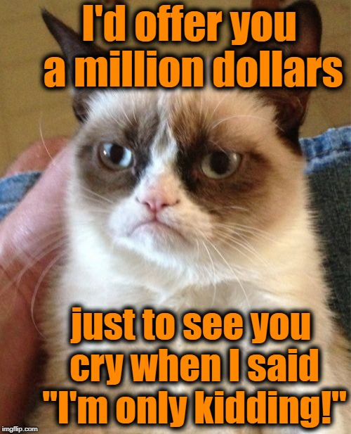 "Grumpy Cat Meme | I'd offer you a million dollars just to see you cry when I said ""I'm only kidding!"" 